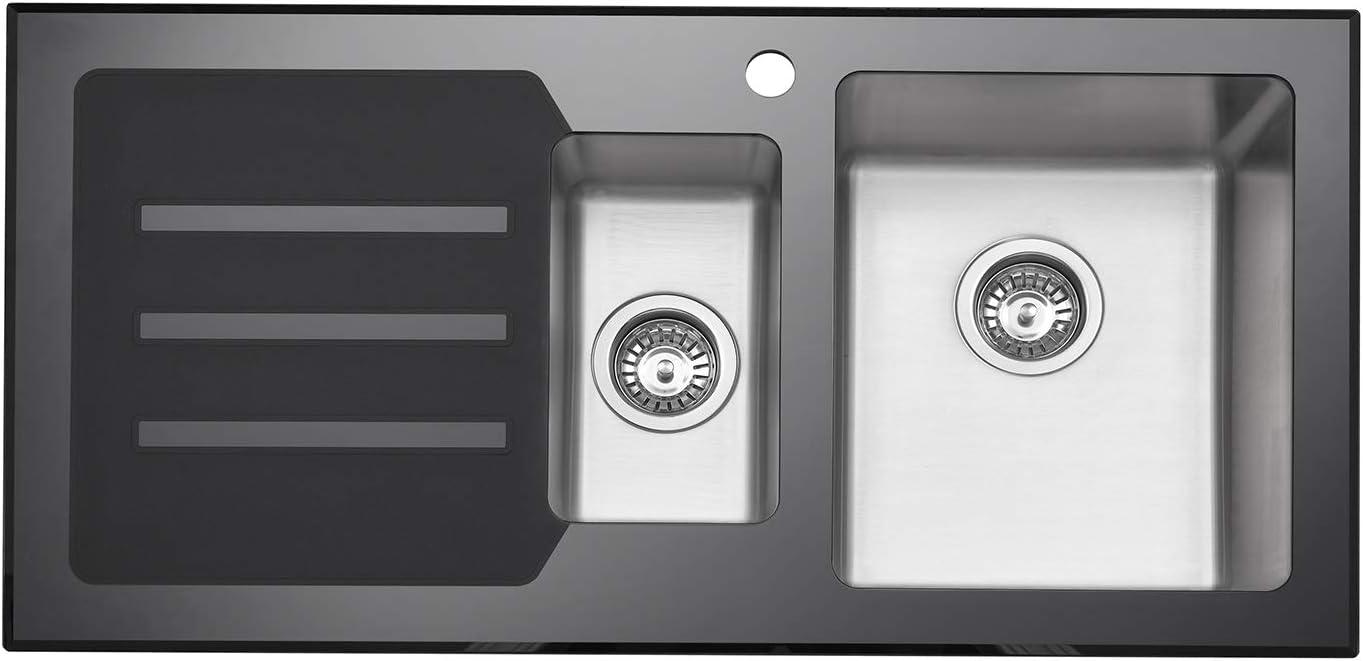 Fregadero de cocina JASS Ferry color blanco acero inoxidable, 1 cuenco grande, con colador, 860 x 500 mm