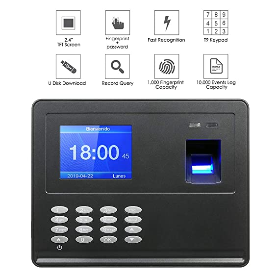 Hylotele Máquina biométrica de Asistencia de Huellas Dactilares Pantalla LCD TFT de 2.8
