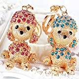 2pcs Cute Dog Sparkling Poodle Blingbling Diamond Crystal Rhinestone Alloy Metal Keychain Animal Puppy Lover Kawaii Keyring Key Chain Pendant Purse Handbag Bag Car Hanging Charm Decoration Couple Gift