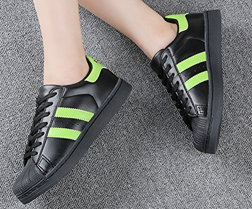 Aisun Donna Sneakers Sportive Piatte Color Block Trendy Black2