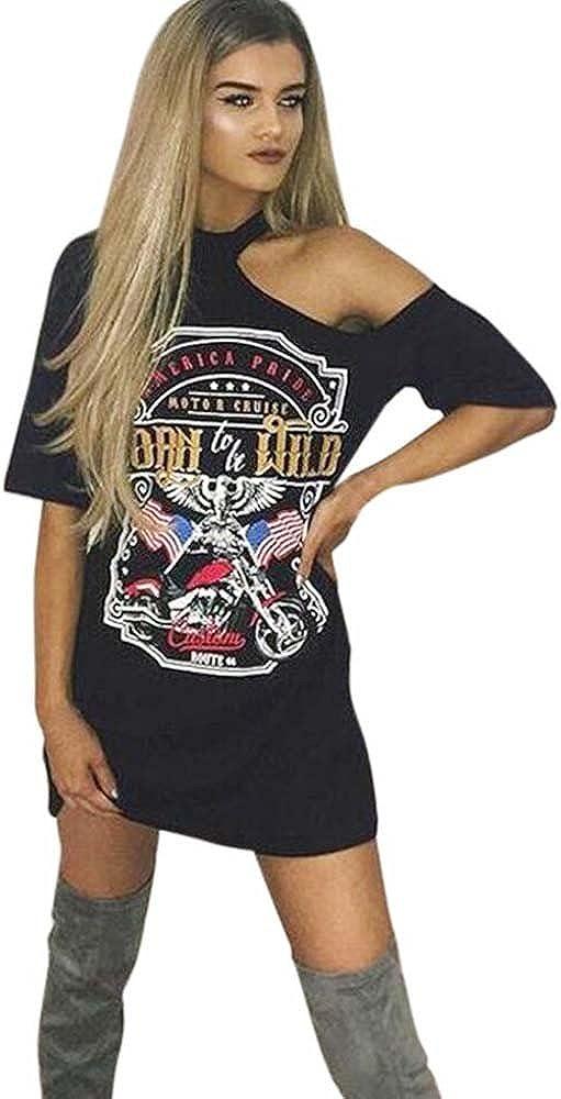 VJGOALas Mujeres Atractivas de la Vendimia cuelgan el Cuello de la Personalidad del Hombro Rock Club Nocturno Estilo de impresión de la Camiseta Larga Mini Vestido