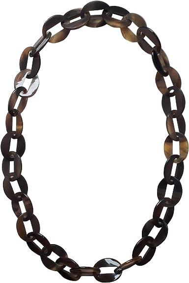 Horn Büffelhorn Halskette Kette Gliederkette braun beige schwarz Hornkette NEU