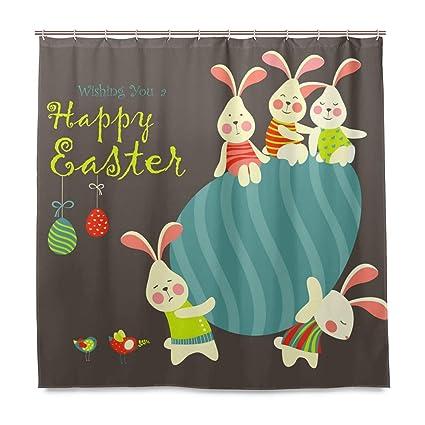 JOKERR Shower Curtain Easter Bunny Rabbit Eggs Mildew Resistant Waterproof Polyester Fabric Bathroom 12