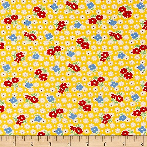 P & B Textiles Holly's Dollies Tossed Flowers Fabric by the Yard, Yellow -  0563403