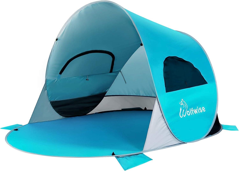 P/êche Famille Randonn/ée Camping WolfWise Abris de Plage Pop Up Parasol de Plage UPF 50 Tente Instantan/ée en Plein air Portable pour Ext/érieur