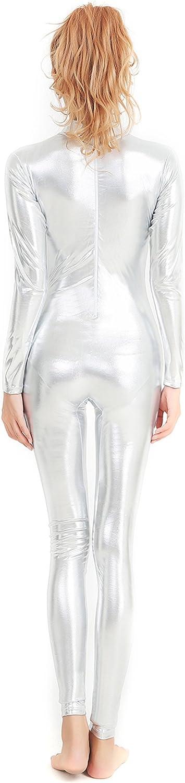 Speerise Damen Shiny Metallic Catsuit Langarm Unitard Bodysuit