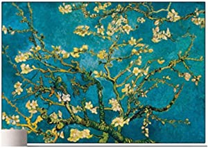 LSDAMW 5D Diamond Painting by Number Kit for Adults DIY Full Drill Cross Stitch Arts Craft Van Gogh World Famous Painting Apricot Flower for Relaxation and Canvas Home Wall Decor 40x50cm