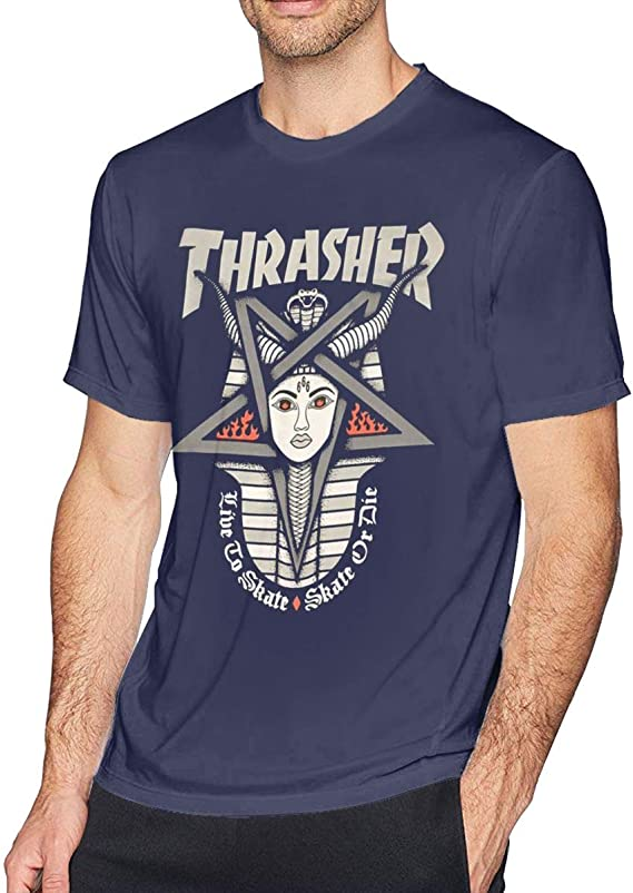 ZARA SIMS Thrasher - Camiseta de Manga Corta para Hombre - Azul Marino - Medium: Amazon.es: Ropa y accesorios