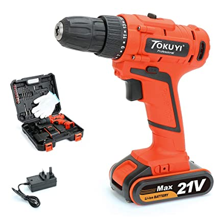 21V Power Electronic Cordless Drill Driver Set Cordless Drill Driver Kits with Storage Case 1.5Ah Lithium-ion Screwdriver Set with Led Light Cordless Drill Screwdriver