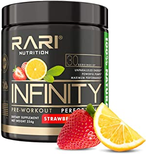 RARI Nutrition - Infinity Pre Workout Powder - Natural Preworkout Supplement for Men and Women - Keto and Vegan Friendly - No Creatine - 30 Servings - (Strawberry Lemonade)