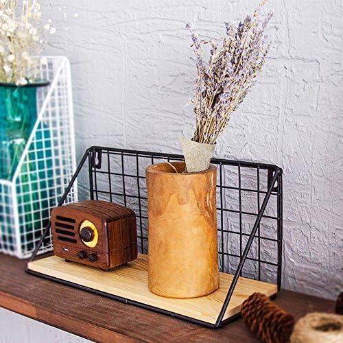 Small+Large Pack of 2 Einfach Chic Industrie Metall Draht Holz Wandregal Modern Loft Wohnheim Ablage Schwarz Wei/ß Natur Schwarz