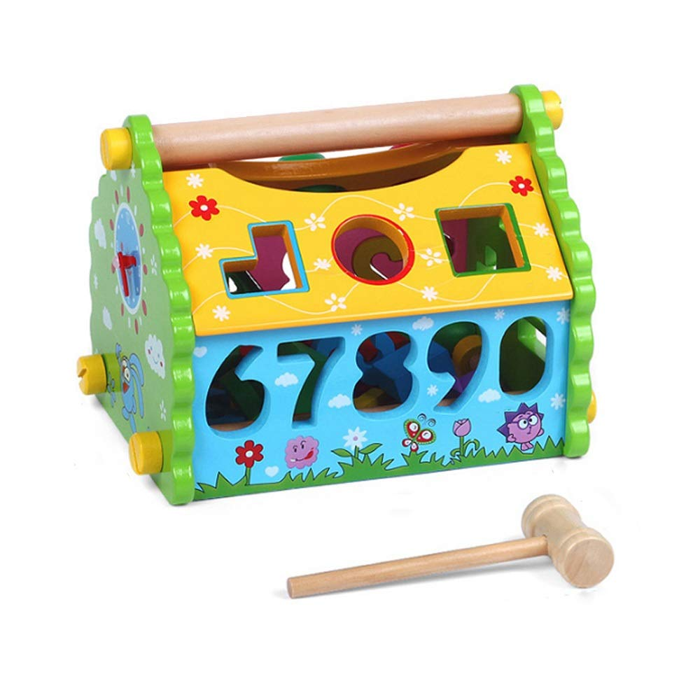 Alapet Creative Digital Knocking Ball House Digital Cognitive Shape Pairing Personality Wooden Cabin Multi-functional Disassembly Wooden House Toy Boys Girls Logic Thinking Hand-eye Coordination Train