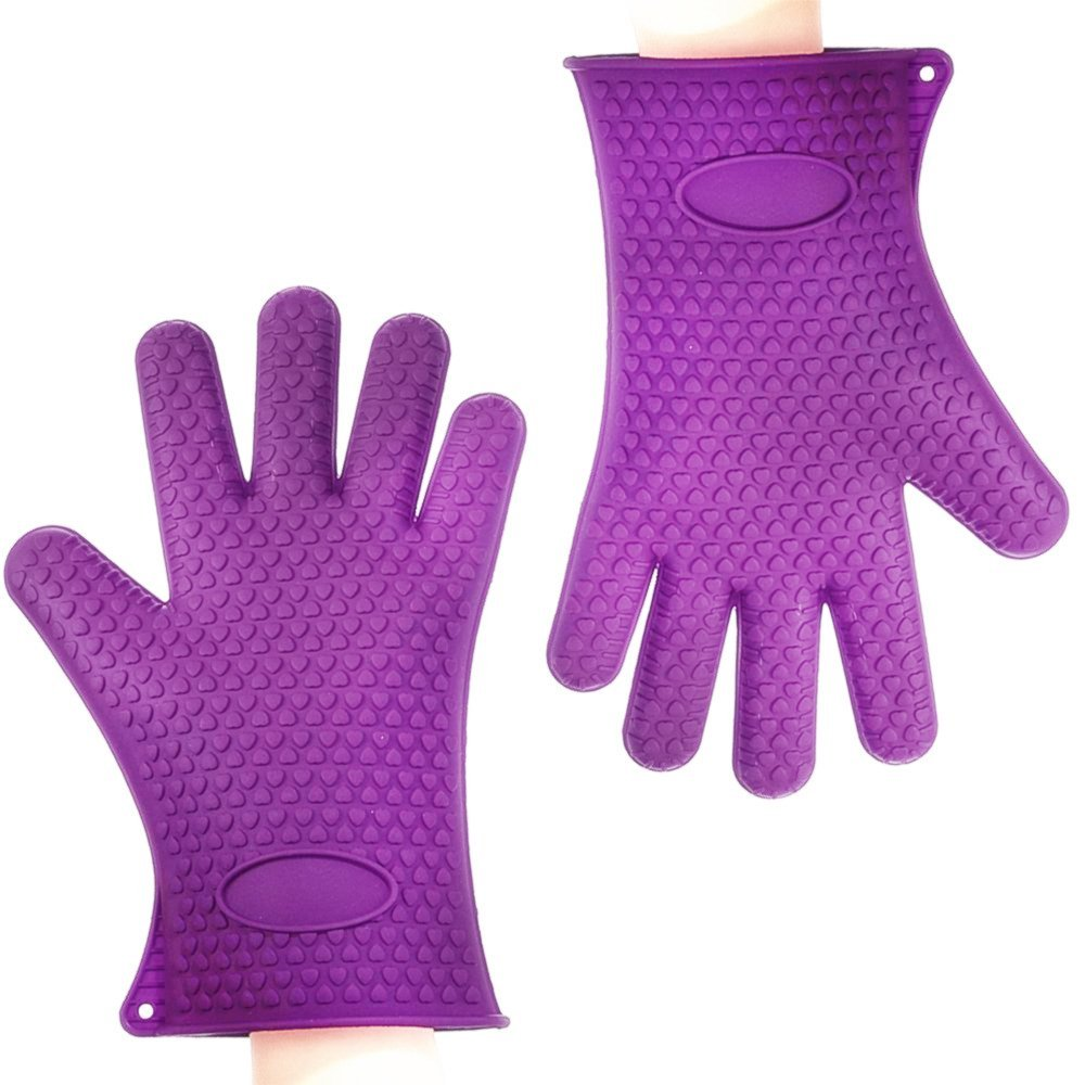 BINWO BBQ Grill Gloves, Best Versatile Heat Resistant Oven Gloves, Cooking Kitchen Pot Holders and Oven Mitts, Insulated Silicone Oven Mitts for Barbecue, Cooking, Baking, Waterproof, Full Finger