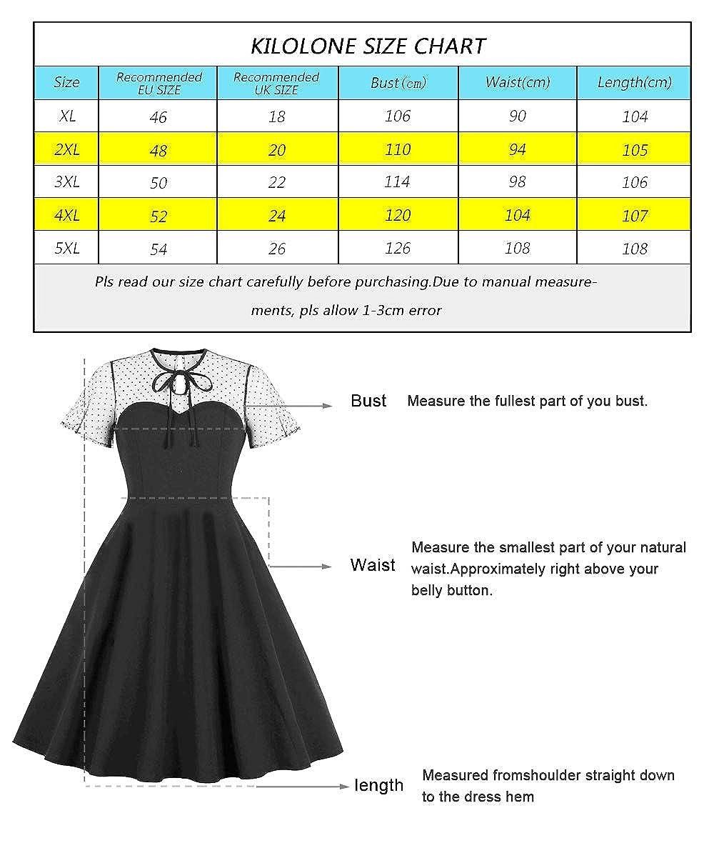 KILOLONE Kleider Gro/ße Gr/ö/ßen 1950er Cocktailkleid Jahrgang Kleider Spitzenkleid Knielang Rockabilly Kleid S-6XL