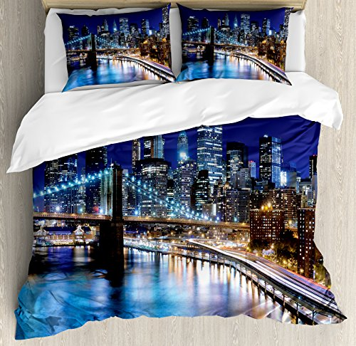 Cities Of States Duvet Cover Set King Size by Lunarable, Downtown New York Skyline Business District Financial Capital of the World, Decorative 3 Piece Bedding Set with 2 Pillow Shams, - District Fashion Stores York New