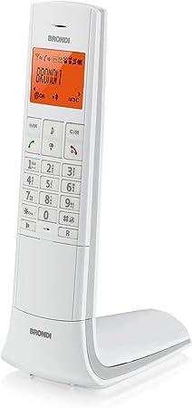 Brondi Lemure - Teléfono (Teléfono DECT, Terminal inalámbrico, Altavoz, 50 entradas, Identificador de Llamadas, Blanco): Amazon.es: Electrónica