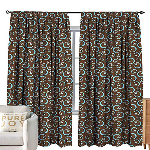 Khaki home Custom Curtain Brown and Blue Circular Pattern Abstract Oval Shapes Illustration Ornament Art Design Brown Pale Blue Simple Style W120 xL84