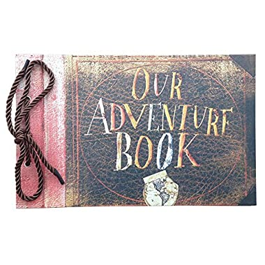Linkedwin Our Adventure Book DIY Scrapbook/Wedding Photo Album, with Pixar Up Movie Postcards & Stickers (Brown Pages)