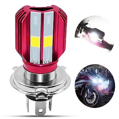 H4 LED Motorcycle Headlight Bulb 16Watts Super Bright 3 COB Chips 1700Lemuns 9003/HS1 Hi/Lo Beam LED Lamp for Honda, Yamaha, Kawasaki ATV,Xenon White.1-Pack.: Automotive