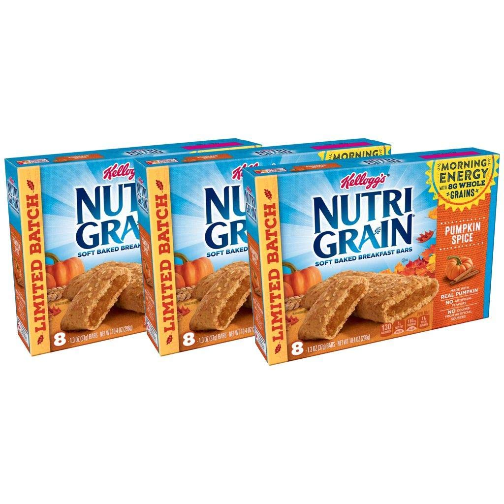 Nutri-Grain Pumpkin Spice Soft Baked Cereal Bars by Kellogg's, 10.4 oz per box (Pack of 3) by Generic