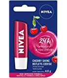 NIVEA Tinted Shimmer Cherry Shine Lip Balm (1 x 4.8g Stick), Fruity Cherry Flavour Lip Balm, Shimmery Red Tinted Lip Balm, 24 Hour Hydration