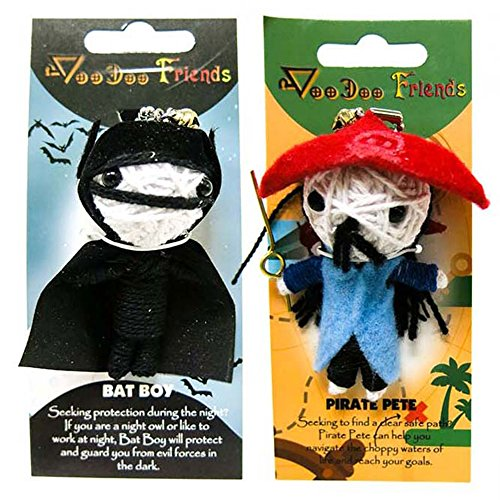 FROG SAC Voodoo Dolls Set of 2 - Yarn String Doll Great as Keychain, Charm for Purse, Backpacks, Office Accessories - Great Gifts (Bat Boy & Pirate Pete)