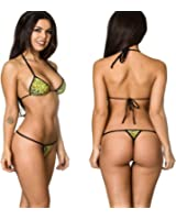 COQUETA Swimwear Brazilian Teeny Micro Thong Mini Bikini Swimsuit G String ZEBRA