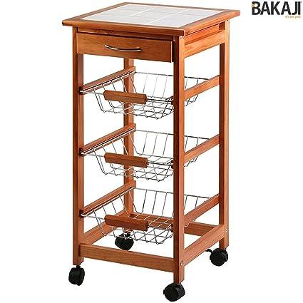 Bakaji Carrello Cucina in legno con 3 Cestelli Acciaio e Ripiano Top ...