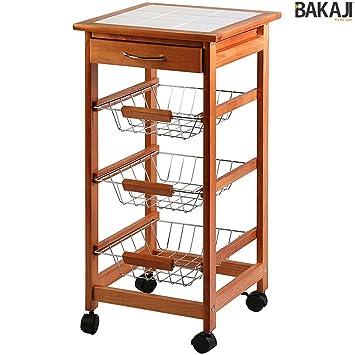 Bakaji Carrito Cocina de Madera 3 Cestas De Acero y Estante 9 Azulejos de Frutas Portabidones: Amazon.es: Hogar