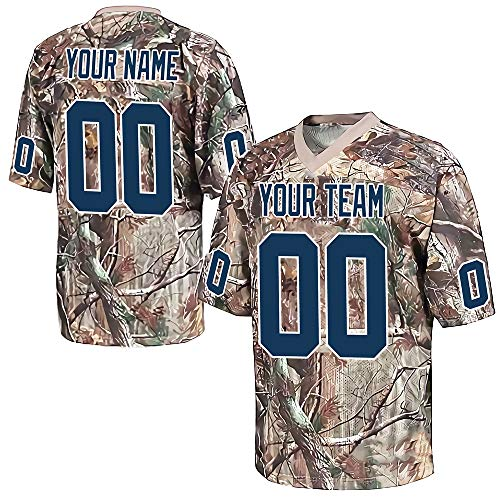 Custom Men's Realtree Football Jersey Stitched Team Name and Your Numbers,Navy-White Size 3XL
