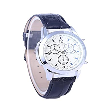 Dressin Womens Men Quartz Watch,Fashion Business Sport Stainless Steel Leather Band Wrist Watch,