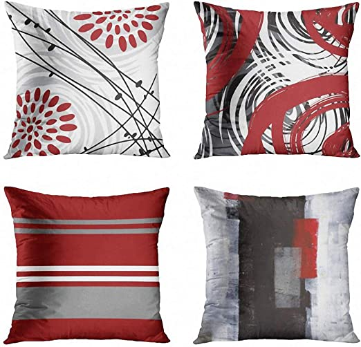 Amazon.com: ArtSocket Set of 4 Throw Pillow Covers Gray Black Red