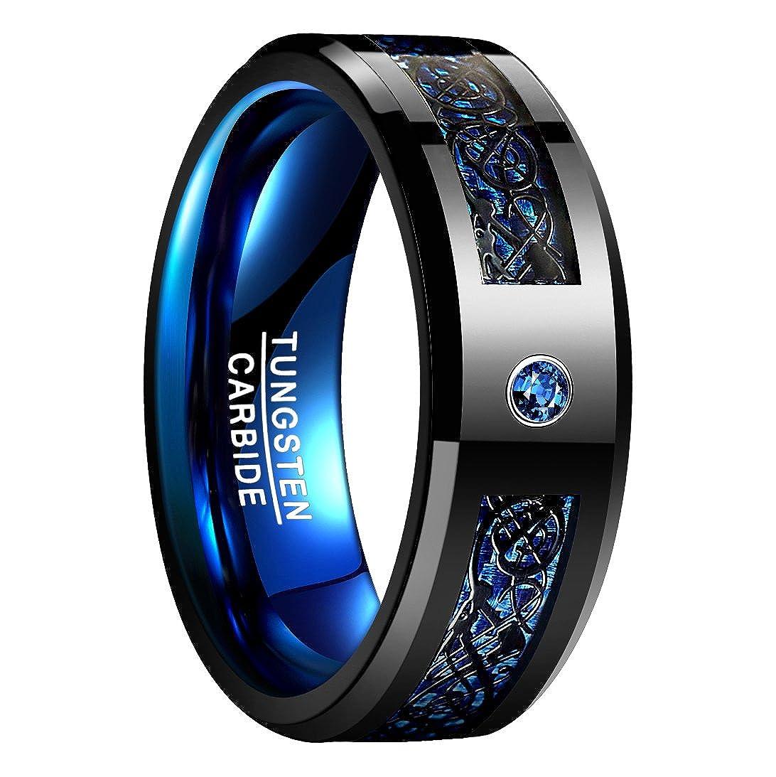 Nuncad Anello uomo/donna celtico nero-blu con fibra di carbonio, zircone, unisex anello tungsteno largo 8 mm per matrimonio, fidanzamento, associazione, misura da 54 a 67 (14-27) T048R
