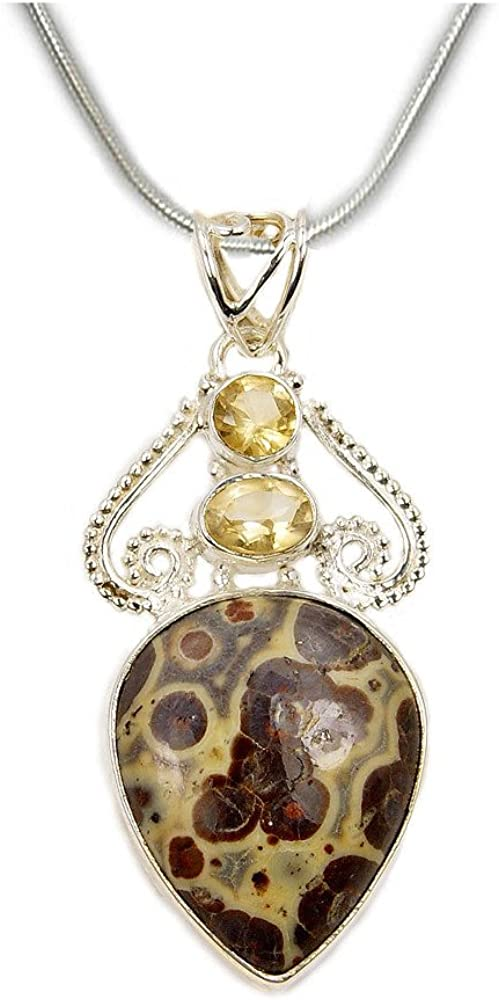 Citrine /& Sterling Silver Pendant Necklace Mushroom Rhyolite