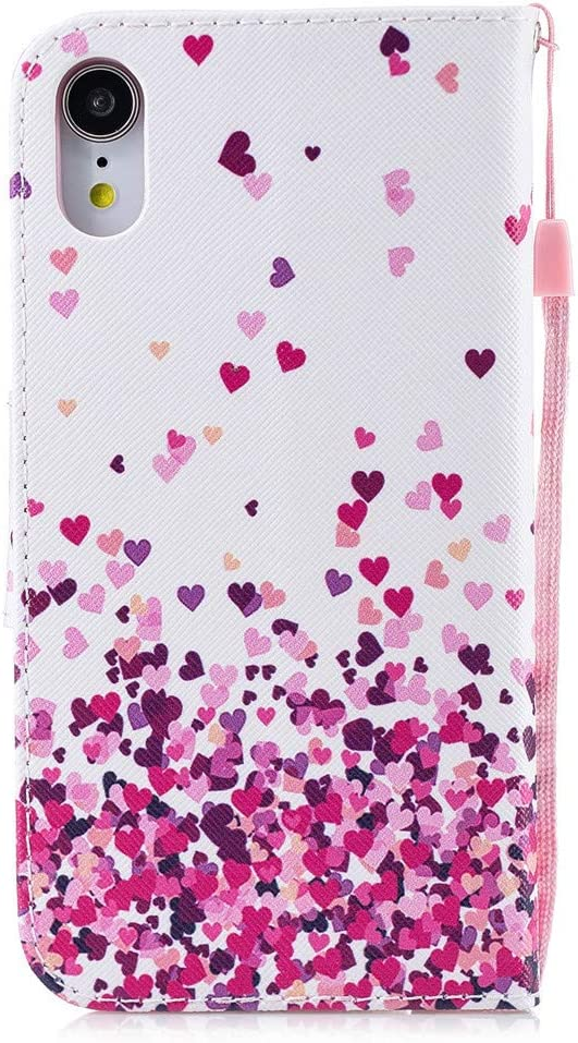 Ink Flowers HX Kickstand iPhone XR Case LEECOCO Fancy Printing Floral Wallet Case with Card//Cash Slots Wrist Strap PU Leather Folio Flip Protective Case Cover for iPhone XR 6.1 inch