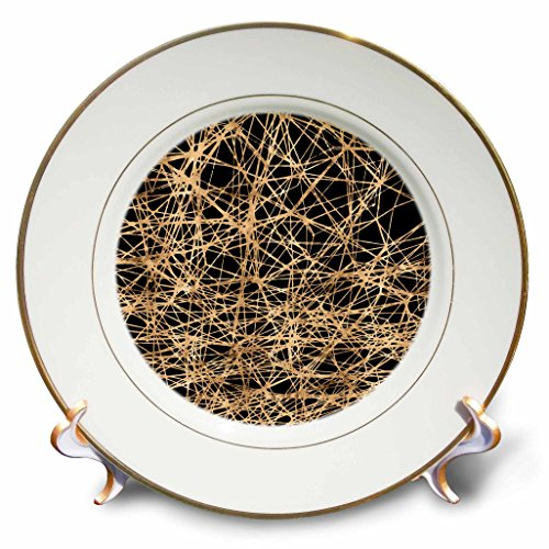 3dRose Anne Marie Baugh - Patterns - Modern Faux Gold and Black Abstract Cross Hatch Lines Pattern - 8 inch Porcelain Plate (cp_283459_1)