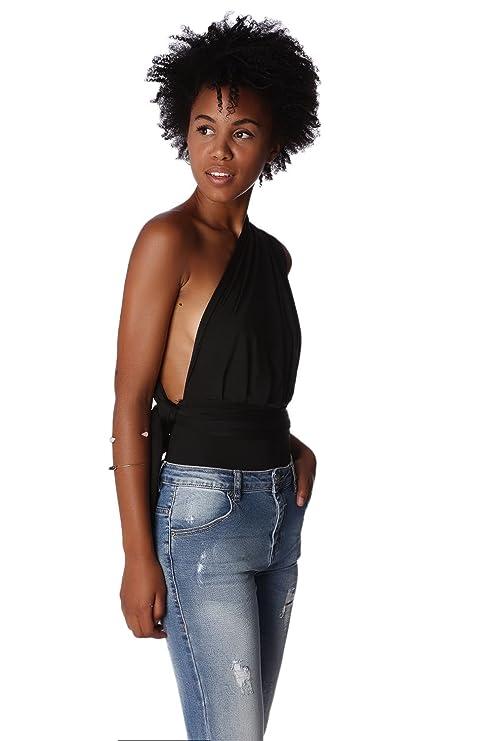 Q2 Femme Body à décolleté Plongeant et Dos Nu Noir - S - Noir  Amazon.fr   Vêtements et accessoires a47ca991a3e