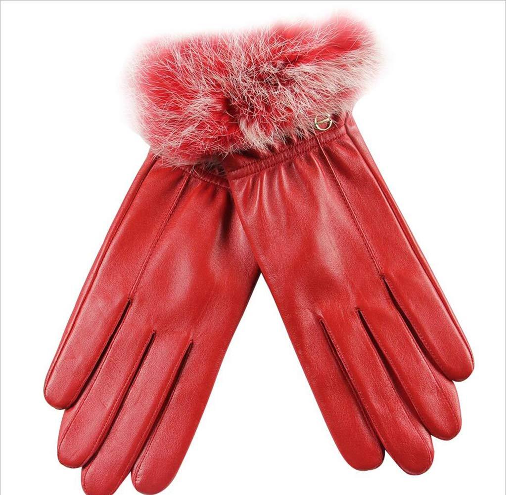 LYLYSS Guantes De Cuero De Las Señoras Invierno Caliente Guantes De Cuero Rojo,Red,XL