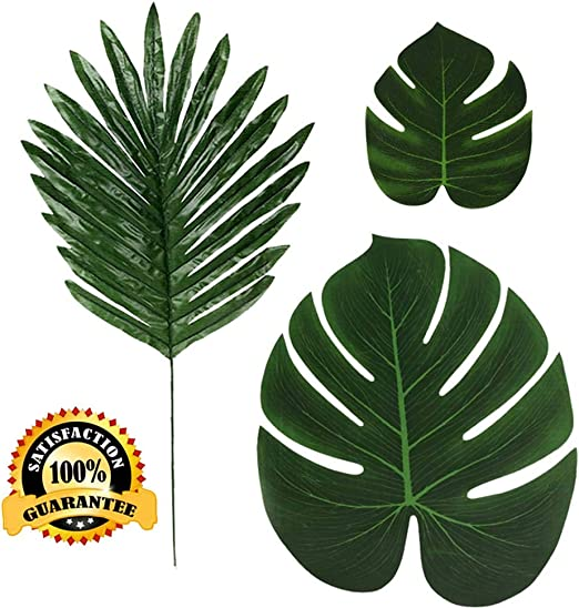 Amazon Com 36 Pcs 3 Kinds Artificial Palm Leaves Tropical Plant Faux Leaves Safari Leaves Hawaiian Luau Party Suppliers Decorations Tiki Aloha Jungle Beach Birthday Table Leave Decorations Home Kitchen