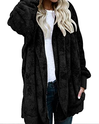 86c3cfc95 Amazon.com  Womens Fuzzy Winter Open Front Cardigan Sherpa Fleece ...