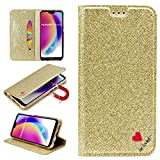Stysen Glitter Wallet Case for Huawei P20 Lite,Flip Stand Function Cover for Huawei P20 Lite,Shiny Bling Love Heart Design Leather Cover for Huawei P20 Lite-Gold