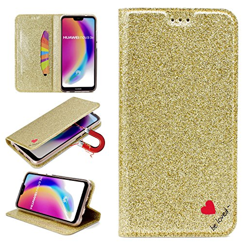 Stysen Glitter Wallet Case for Huawei P20 Lite,Flip Stand Function Cover for Huawei P20 Lite,Shiny Bling Love Heart Design Leather Cover for Huawei P20 Lite-Gold by Stysen