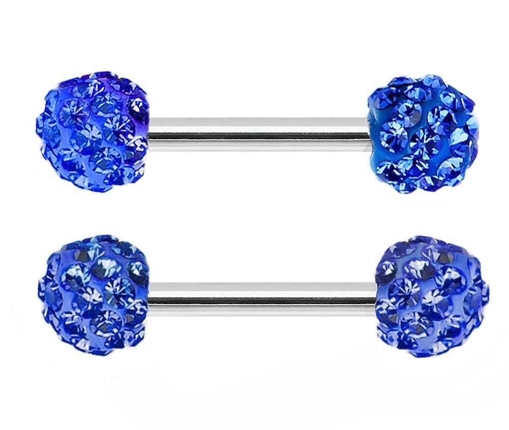 Pair of Swarovski Crystal Ferido gem paved Surgical Steel Nipple barbell Ring piercing bar rings 14g