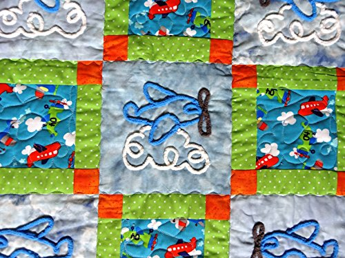 Chenille Airplanes on Adorable Baby Quilt 40 x 48 Inches by Paula Friesen Seek and Find It