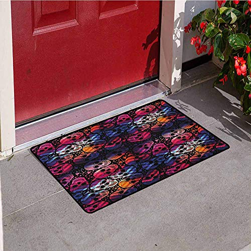 Gloria Johnson Halloween Front Door mat Carpet Mexican Sugar Skulls Stylized Digital Polygonal Geometric All Saint Day Display Machine Washable Door mat W15.7 x L23.6 Inch Multicolor]()