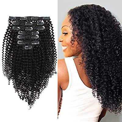 AmazingBeauty 8A Remy Human Kinkys Curly Clip in Hair Extensions for African American Black Women 3C and 4A Type, Natural Color 10-22 Inch 120 gram, Tangle Free and Shedding Free,