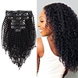 AmazingBeauty 8A Remy Brazilian Clip in Hair Extensions Kinkys curly 3C and 4A