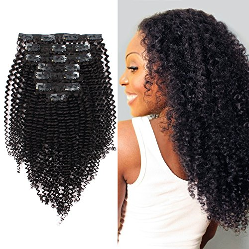 ABH AmazingBeauty 8A Remy Brazilian Clip in Hair Extensions Kinkys curly 3C and 4A type for African Americans, Natural Color 120 gram 16 Inch for Bantu Knotted, Twisted Out