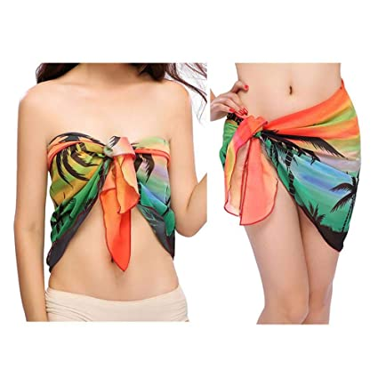 c4496134a5f55 Amazon.com: MOGOI Women's Swimsuit Cover Up Summer Beach Wrap Skirt Swimwear  Bikini Cover-ups Short/Knee Length/Long Cover Up Pareo Swimsuit Wrap Solid:  ...