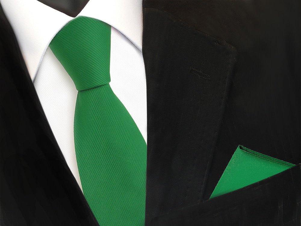 TigerTie Designer Krawatte Einstecktuch in einfarbig Uni Rips gemustert